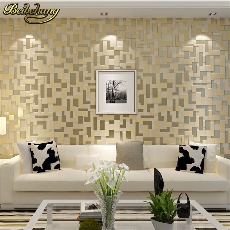 beibehang 3D embossed nonwoven stereoscopic mosaic wallpaper rolls modern woven flocking wall paper living room Home Decoration