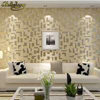 Modern 3D Embossed Nonwoven Stereoscopic Mosaic Wallpaper Rolls Modern Woven Flocking Wall Paper Living Room Home