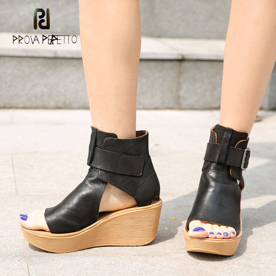 Prova Perfetto handmade do old genuine leather wedge sandal women open toe platform flat casual sandal
