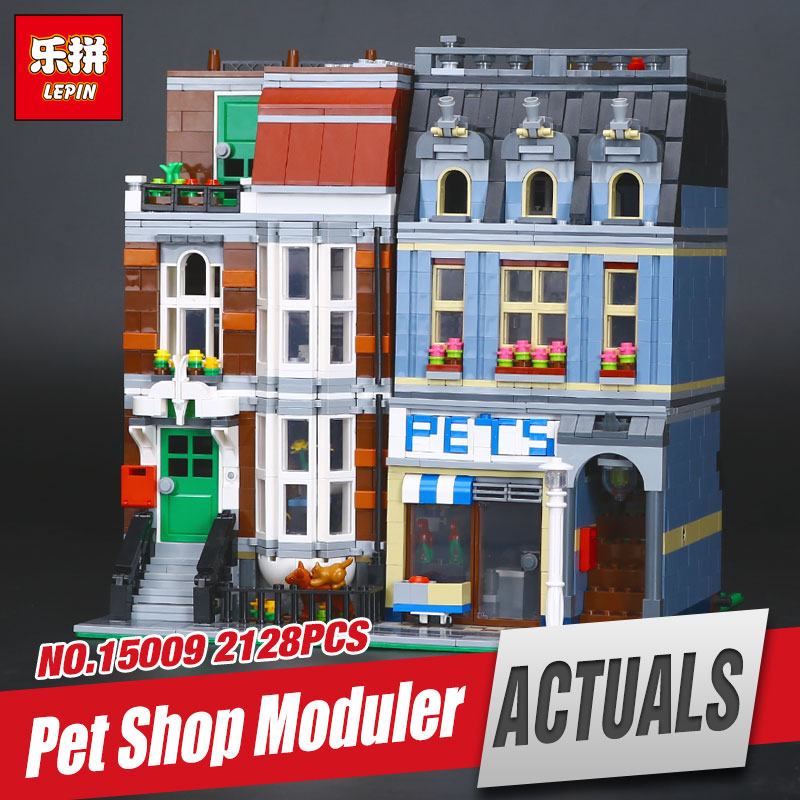 LEPIN 15009 City Street Pet Shop Supermarket Model Educational Building Block Kids Funny Toy Gift  Compatible with 10218 Gift lepin 15009 city street pet shop model building kid blocks bricks assembling toys compatible 10218 educational toy funny gift