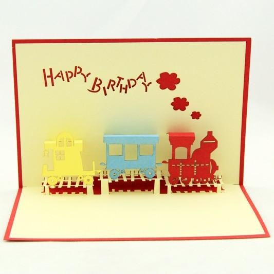 Carte d'anniversaire de Train/carte pop up 3D kirigami/cadeau de train garçon livraison gratuite