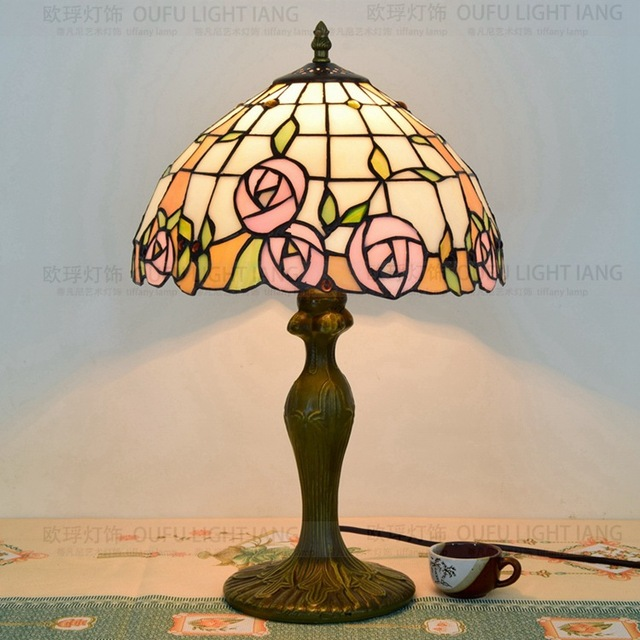 12inch Flesh Country Flowers Tiffany Table Lamp Style Stained Gl For Bedroom Bedside E27 110 240v