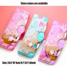 Cartoon Fancy Briefpapier multifunctionele Pen Doos Plastic Twee Layer Dubbele Open multi-layer Etui Student Gift school Aanbod(China)