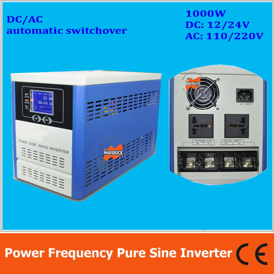 Power frequency 1000W pure sine wave solar inverter with charger DC12V24V to AC110V220V LCD AC by Pass AVR