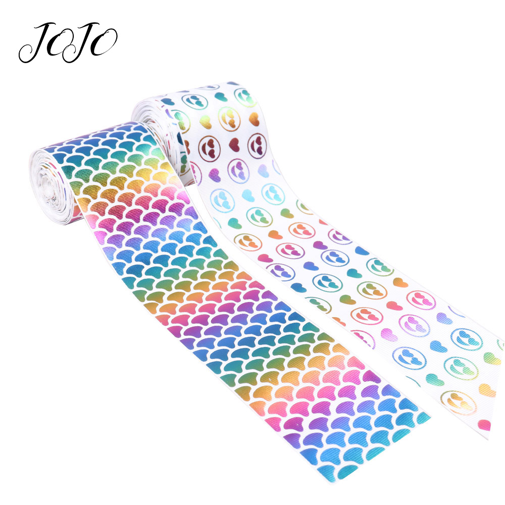 JOJO BOWS 75mm 2y Grosgrain Ribbon Heart Love Mermaid Printed Tape For Needlework DIY Hair Bows Holiday Decoration Gift Wrapping