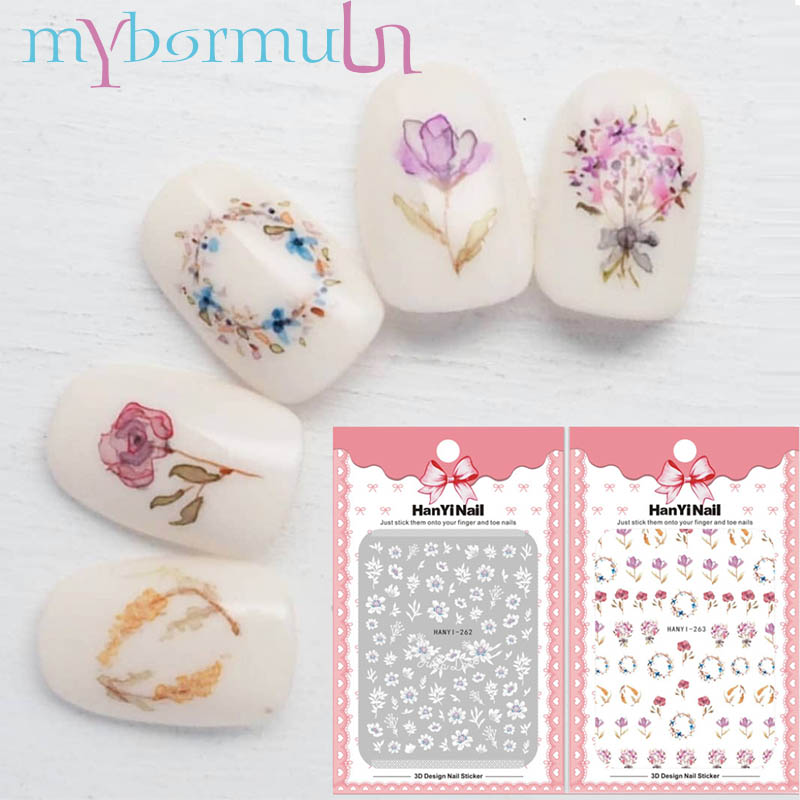 5 Sheets Flower Lace 3D Nail Sticker Decals Self Adhesive DIY Charm Design Manicure Nail Art Decorations Strips Slider Decor Tip