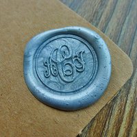 Custom Monogram Wax Seal Stamp Gold Plated Wedding Logo Initials