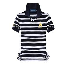 US size pique cotton big horse men 3 letter embroidery logo polo shirts striped fashion homme brand polos shirts brand clothing