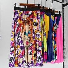 цена на Vintage Floral Pleated Skirts Harajuku Women Skirts Cartoon Print Elastic High Waist Skirt Leisure A Line Midi Skirts Faldas 3XL