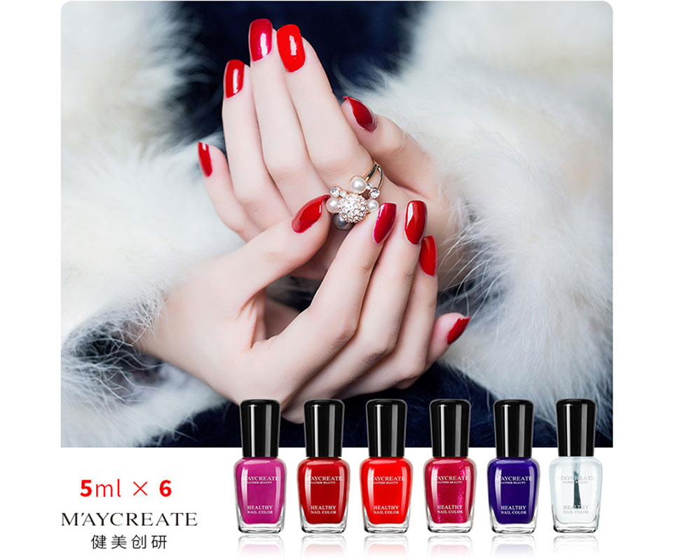 MayCreate 6pcs/set Nail Polish Women Makeup Nail Gel Manicure Water ...