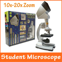 Christmas Gift 10X 20X Zoom Illuminated Educational Children Toy Kids 1200X Microscope With Projector Light Lamp
