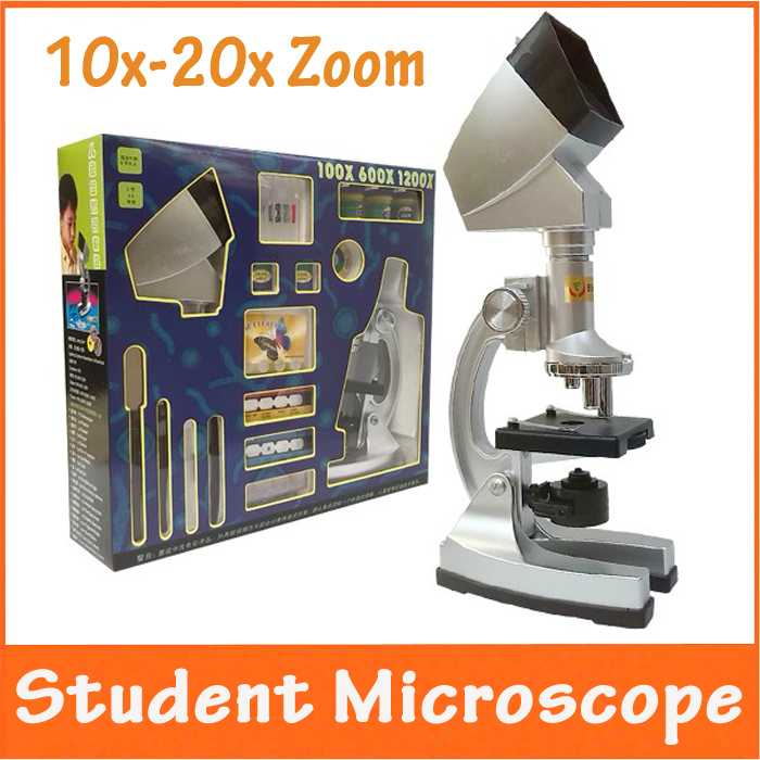 Christmas Gift 10X-20X Zoom Illuminated Educational Children Toy Kids 1200X Microscope with Projector & Light Lamp for Students  цены