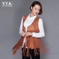 Plus Size Streetwear Faux Leather Jacket For Women Tassel Design Rivet Suede Colete Feminino De Inverno