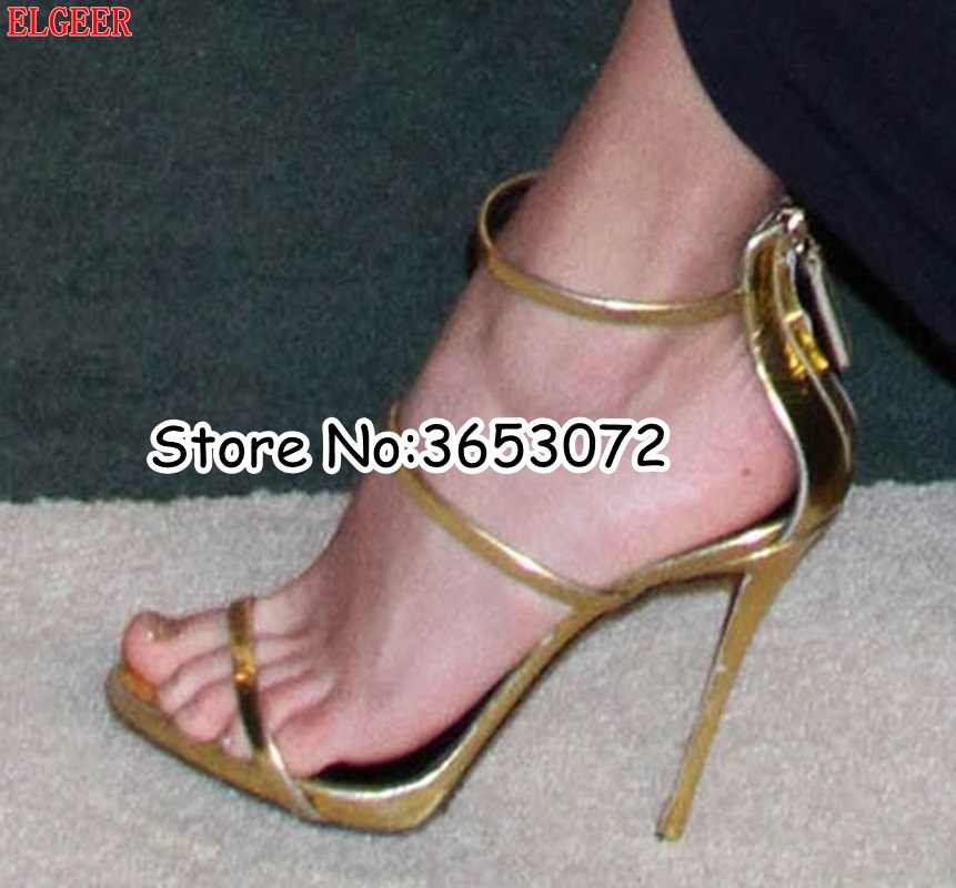 d15ca9cd73 Open Toe Party Dress Stiletto High Heels Gold Silver Nude Leather  Multi-Strap Thin Heels Pumps Sandals Woman sapato feminino