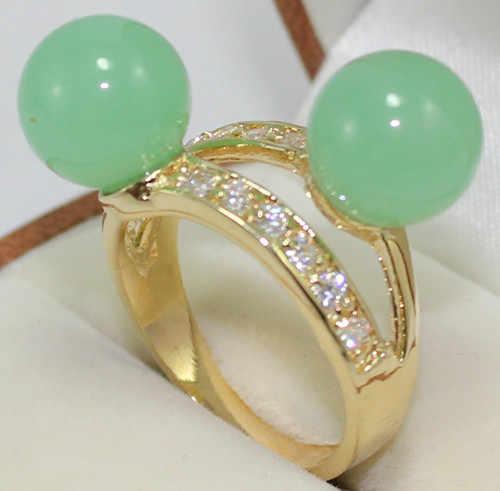 จัดส่งฟรี>>>@@ 2สีน่ารักขายส่ง18kgp 2แสงสีเขียว/สีม่วงหยกลูกปัด6-8มิลลิเมตรเลดี้ของแหวนแฟชั่น(#7.8.9) #