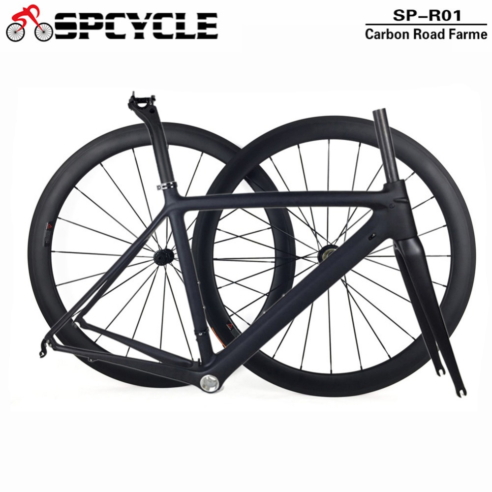Spcycle 2018 New Ultralight Carbon Road Bike Frame Wheelset T1000 Carbon Road Bicycle Frameset With Seatpost Headset 50/53/55cm track frame fixed gear frame bsa carbon 1 1 2to 1 1 8 bike frameset with fork seatpost road carbon frames fixed gear frameset