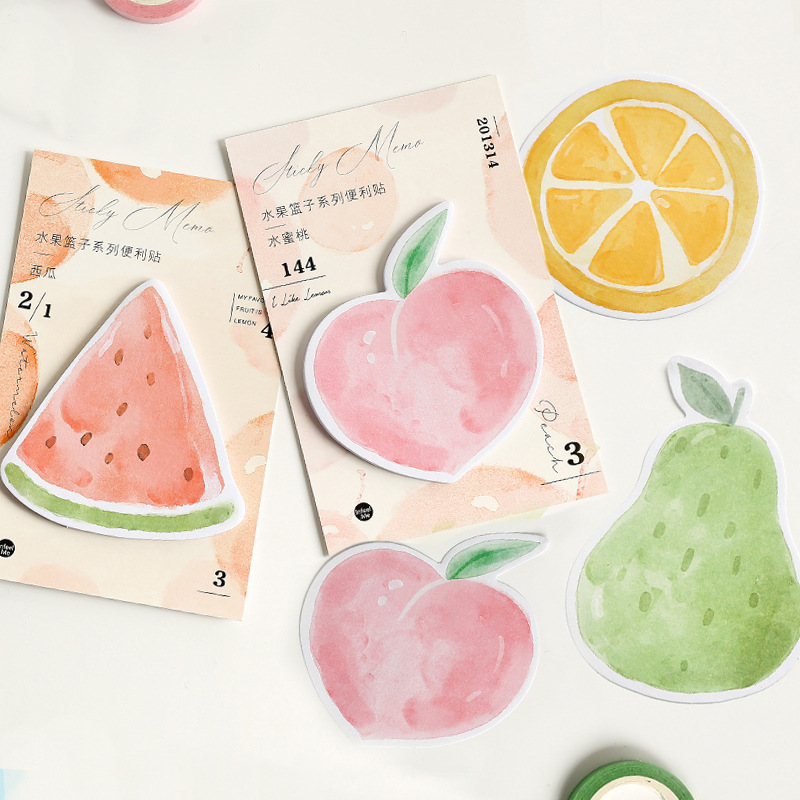 30 Pages/pack Fresh Lemon Pear Peach Watermelon Memo Pads Sticky Notes Planner Writing Sticker Student Stationery Notepad