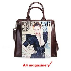 Image 5 - Burminsa Bolsos de piel auténtica suave para mujer, bolso grande A4 de gran capacidad, bolsos de trabajo Vintage, bolsos de hombro tipo bandolera 2020