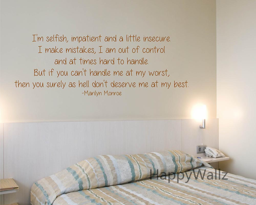 Marilyn monroe love quote wall sticker im selfish quote wall marilyn monroe love quote wall sticker im selfish quote wall decal diy inspirational motivational custom color quote decal q45 in wall stickers from home amipublicfo Choice Image