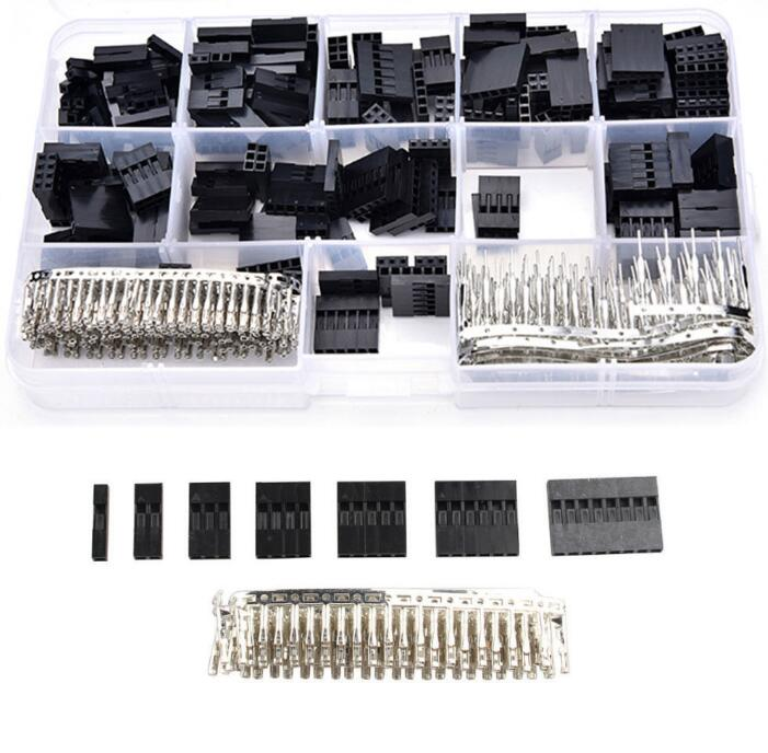 620pcs Dupont Wire Cable Jumper Pin Header Connector Housing Kit Male Crimp Pins+Female Pin Connector Terminal Pitch With Box 100pcs 1p dupont jumper wire cable housing female pin connector dupont plastic shell 2 54mm pitch