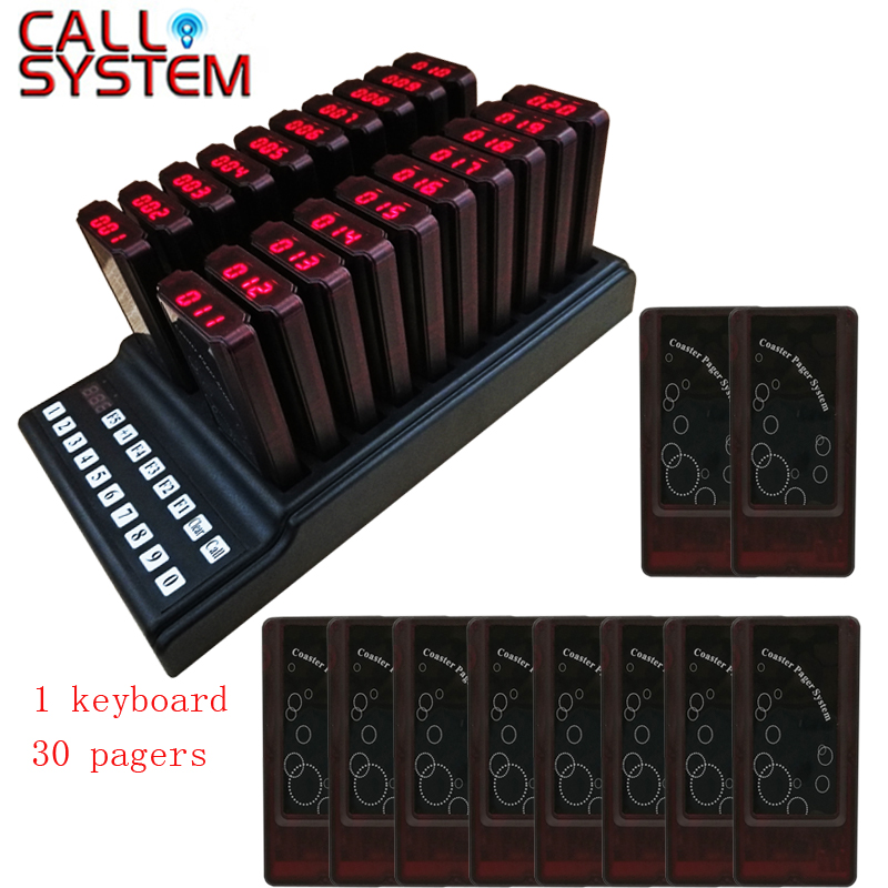 Ycall 30 Pagers and 1 Transmitter Keypad Restaurant Pager Wireless Paging Queuing System Guest Table Calling Coaster Pagers ...