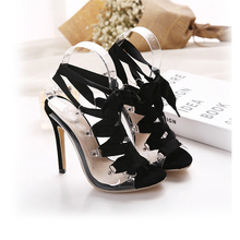 2016 European classic transparent sexy Ribbon straps women pumps high-heeled shoes summer sandals
