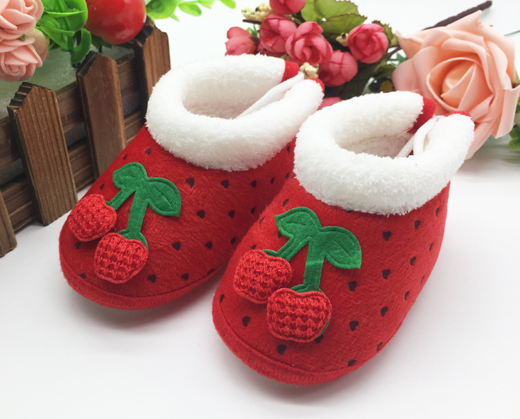 New Toddler Girl Boy Baby Winter Walker Shoes Soft Sole Infant Strawberry Warm Cotton Shoes 3-12M Mules & Clog J456