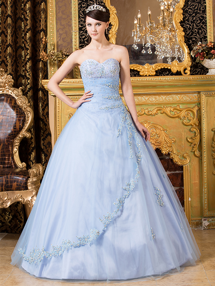 Simple Light Blue Ball Gown Sweetheart Prom Dresses Beaded Sparkly ...