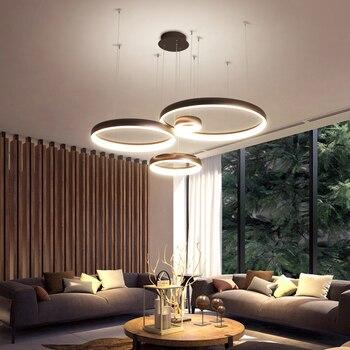 Neogleam anillo Circel candelabro led moderno para sala de estar comedor tienda Bar Blanco/candelabro colgante de Color café żyrandol