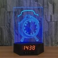 Alarm Clock Acrylic 3D Calendar Desk Lamp LED Night Light Baby 7 Color Change Remote Switch