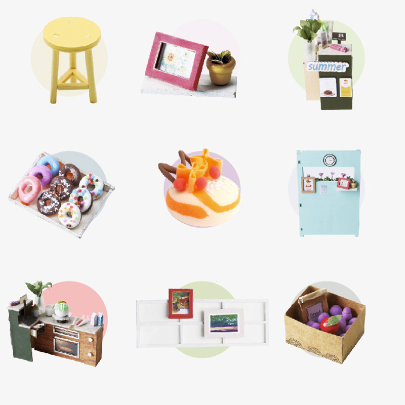 DIY DollHouse Miniature With Furniture Art House 3D Wooden Mini Dollhouse Gift Model Puzzle Toys For Kids Miss Dessert DGM06 E in Doll Houses from Toys Hobbies