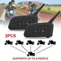 Vehemo 2018 2 Pcs V6 Pro Motorcycle Helmet Bluetooth Headset Intercom 6 Riders 1200M Wireless Intercomunicador