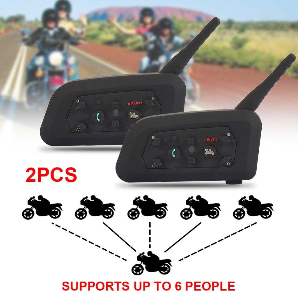 Vehemo 2018 2 pcs V6 Pro Motorcycle Helmet Bluetooth Headset Intercom 6 Riders 1200M Wireless Intercomunicador BT Interphone
