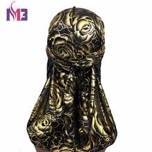 Mens Silky Durags Turban Hat Bandanas Rose Floral Print Men Satin Durag Long Straps Waves Cap Hair Accessories Do DuRag