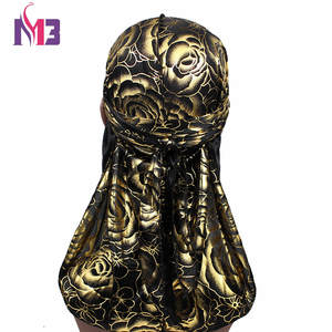 Turban Hat Bandanas Rose Men Satin Hair Accessories DuRag