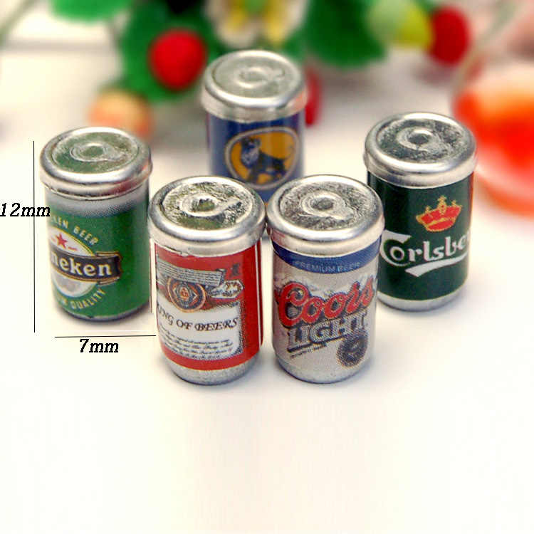 2019 New 5Pcs 1:12 Scale Canned beer  Dollhouse Miniature Toy Doll Food Kitchen living room Accessories Free Shipping