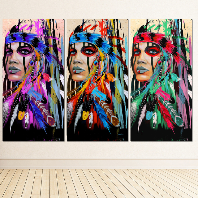 Modern Native American Indian Girl Feathered Canvas Painting For ...