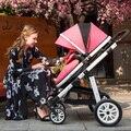Зимой и Летом Детские коляски складной двусторонний 4 бегун толчок малолитражного автомобиля амортизаторы двойного назначения baby car