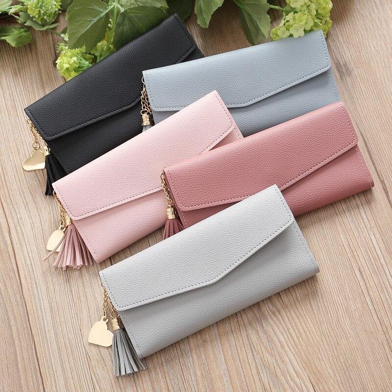 Long Wallet Women Purses Tassel Heart Pendant Card Holder Wallets Female High Quality Clutch Money Bag PU Leather Wallet