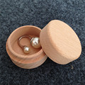 Round Shape Vintage Style Mini Wooden Jewellery Ring Box Wooden Gift Earring Packaging Box  For Valentine's Day 4Piece