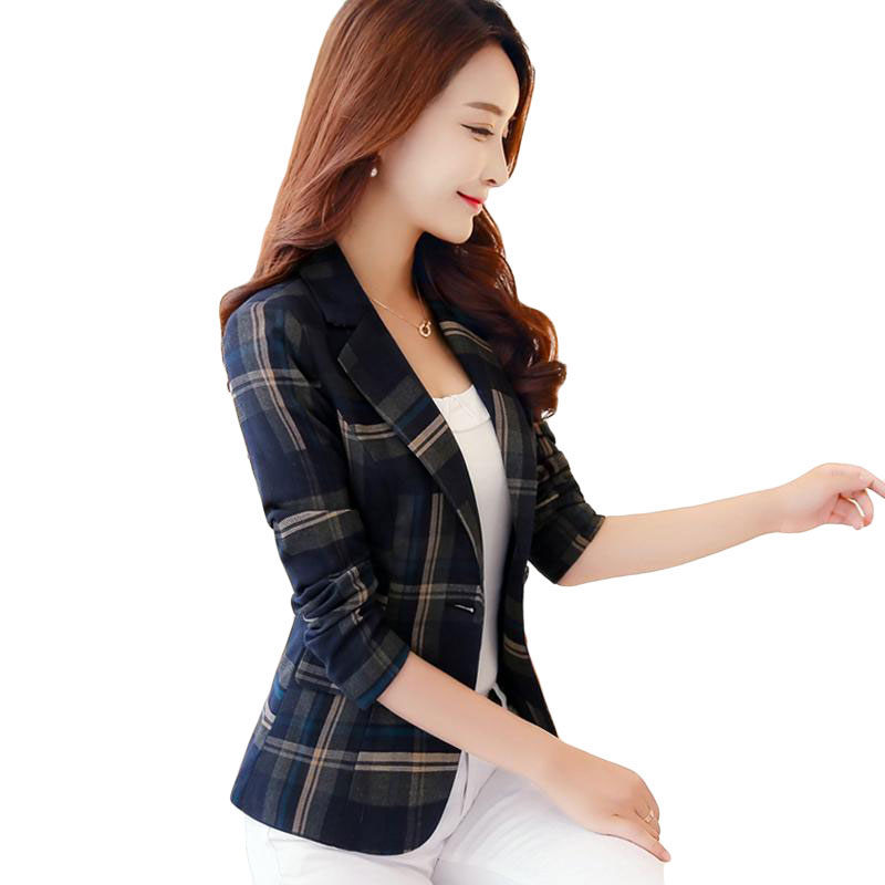 Blazers Feminin 2018 Women England Style Blue Red Plaid Blazer Slim Fit Blazers And Jack ...
