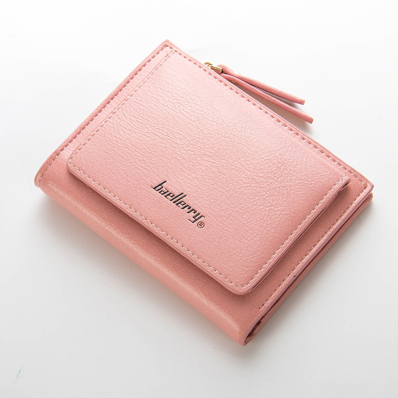 Pink Women Wallet Zipper Hasp For Coin Card Holder Photo Bag Cash Fashion Multifunction 3 Fold Purse Short Wallet Female xzxbbag fashion female zipper big capacity wallet multiple card holder coin purse lady money bag woman multifunction handbag