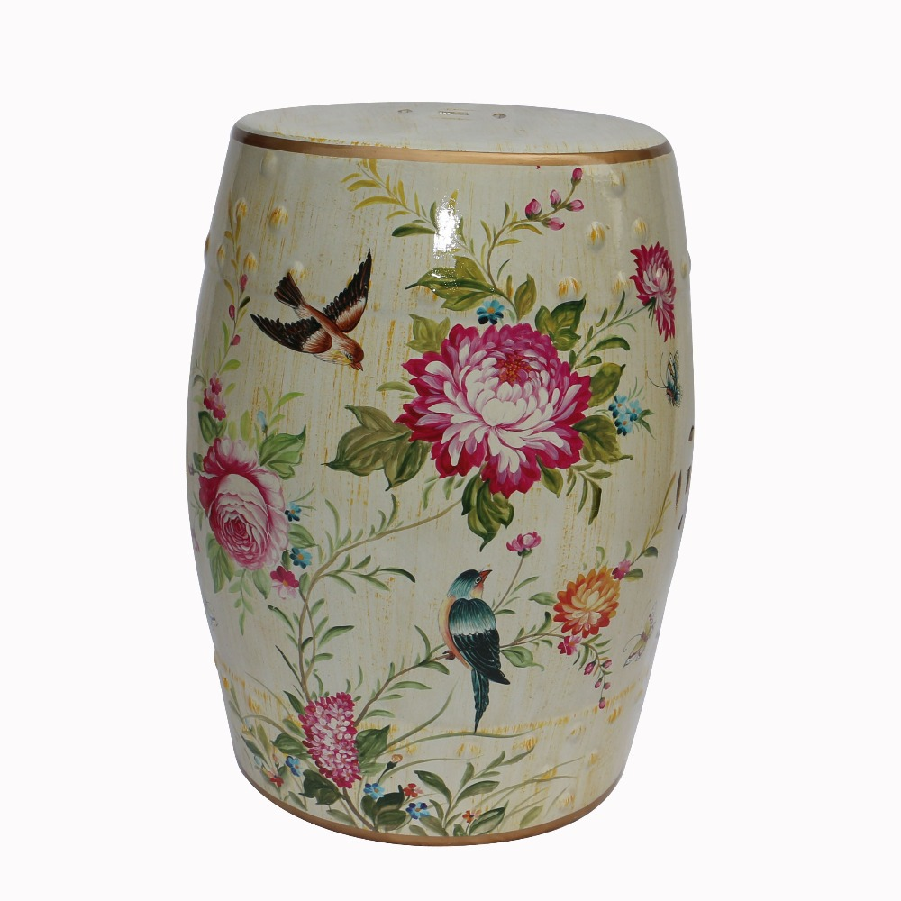 Modern chinese ceramic tall flower and bird desin stools for home and garden decoration H18inches цена и фото