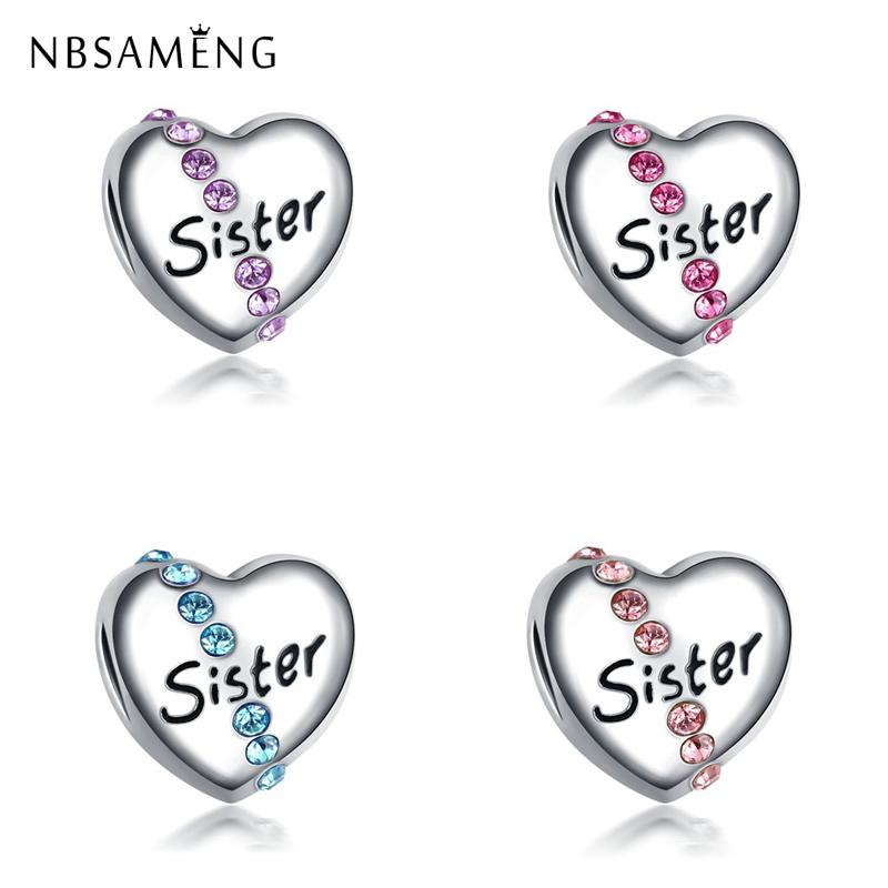 New Silver Plated Round Bead Charm Sister Heart Shape
