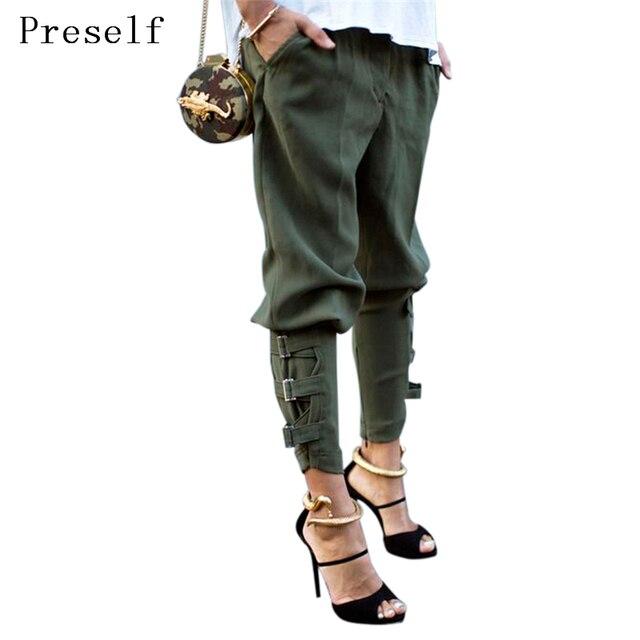 Preself Шаровары Женщины Девушки Army Green Черный Пант Кнопка Дизайн Мода Высокое Качество Знаменитости Досуг Брюки Повседневная Плюс Размер