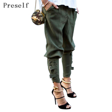 Preself Harem Pants Women Girls Army Green Black Pant Button Design Fashion High Quality Celeb Leisure Trousers Casual Plus Size