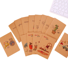 1pc/lot Kawaii Kraft Paper Retro 64K Mini Diary Blank Inner Cartoon Pattern Cactus Owl Bear Notebook Student Learning Gift Book