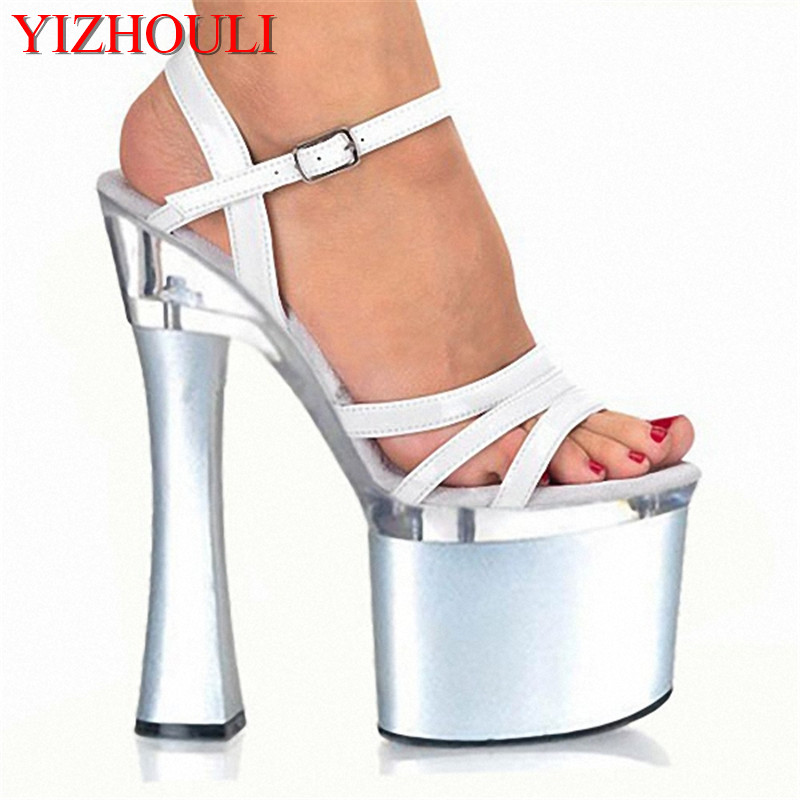 Concise Sexy 18CM Super Thick High Heel Platforms Pole Dance / Performance / Star / Model Shoes, Wedding Shoes 15cm sexy super high heel platforms pole dance performance star model shoes wedding shoes crystal shoes