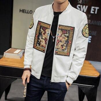 cbfb5d97007 Весенняя куртка-бомбер мужская 2019 Новая мода Китайский длинный куртки ПАО  Мужская Slim Fit с длинным рукавом Повседневная Мужская s пальто ветр.