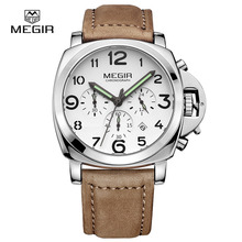 Fashion military luminous quartz watches men analog casual chronograph waterproof leather wristwatch man top brand MEGIR 3406